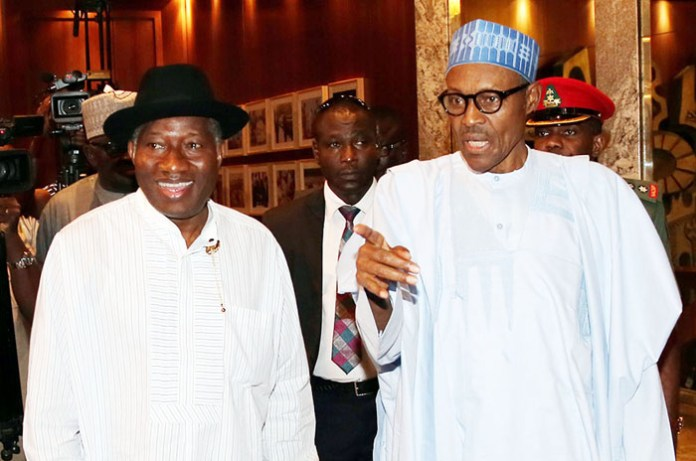 PRESIDENT BUHARI RECEIVES FMR PRESIDENT JONATHAN. President Muhammadu Buhari receives the former President Dr goodluck Ebele Jonathan at the State House in Abuja. PHOTO; SUNDAY AGHAEZE/STATE HOUSE AUGUST 3 2016