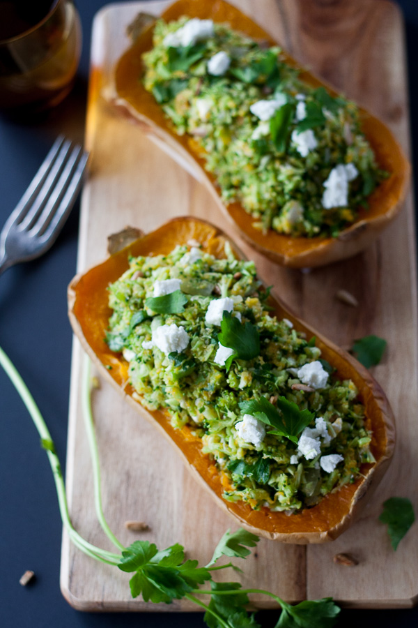 stuffed butternut pumpkin - Healthy and packed full of veggies with a nice tang from some goats cheese on top, delicious!|theeasyhealthyway.com