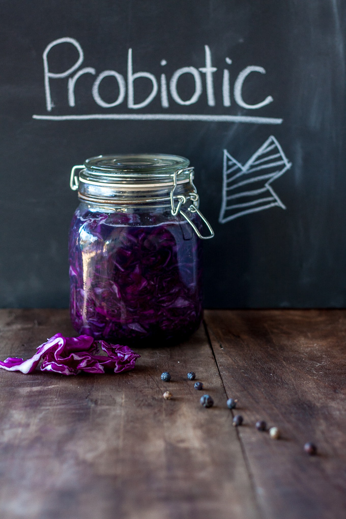 Red Cabbage Sauerkraut Recipe- Is an easy way to get good bacteria into your belly to make you healthier|theeasyhealthyway.com