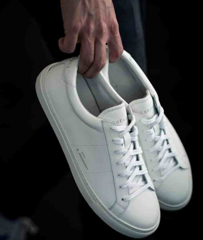 Satoshi One White Sneakers in Hand