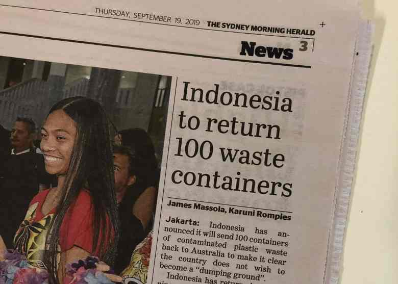 Sydney Morning Herald Indonesia Return Recycling