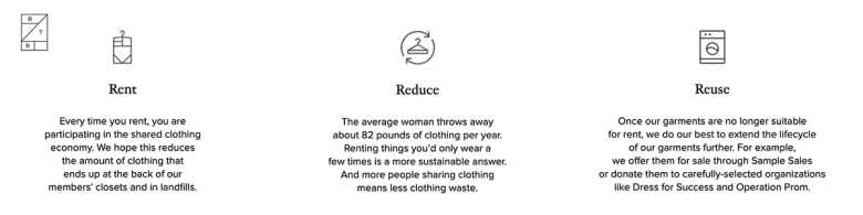 Rent the Runway- Points showing sustainability of fashion rental schemes