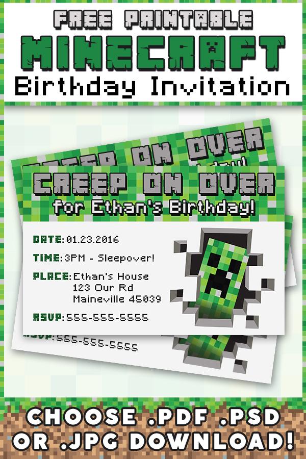 free minecraft printable invitation