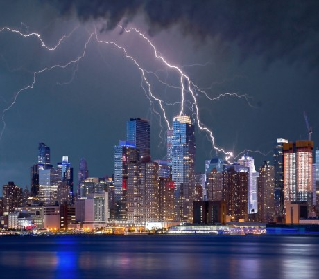 New York Skyline Lightning - Public Domain