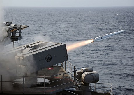 NATO Seasparrow surface missile is launched from the aircraft carrier USS George H.W. Bush - Publc Domain