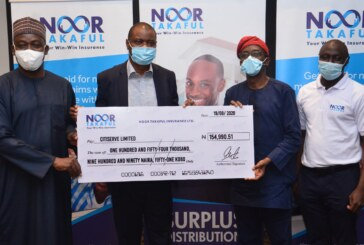 Presentation of surplus cheques to policyholders  by Noor Takaful Insurance Limited in Lagos