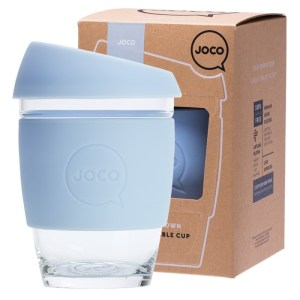 JOCO Reusable Glass Cup Regular 12 oz Vintage Blue