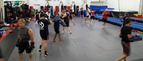 Kickboxing class in full swing
