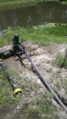 Pump half buried