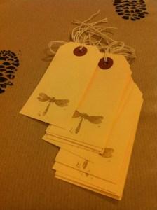 present labels handprinted gold dragonfly print