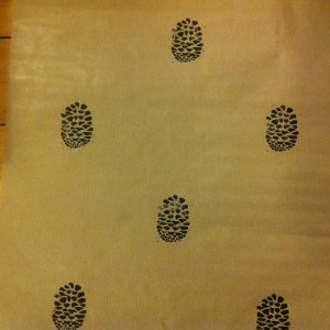 print projects pine cone design wrapping paper handprinted