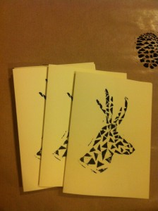 handmade christmas cards geometric reindeer print
