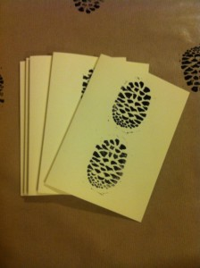 handmade christmas cards with black pine cone design