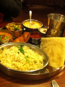 hansa's vegetarian thali - vegan food leeds