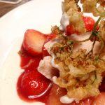 deep fried elderflower with strawberries