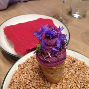 108 review sourdough cone with blueberry icecream and raspberry and rose