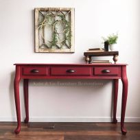 brick red painted entry way table