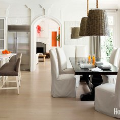Texture is brought into this bright white space and adds warmth and color