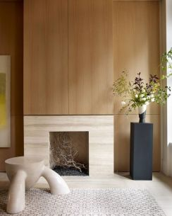 Seeing alot of this too- smaller fireplaces with a panel wall accent. Very chic, very upscale, very 1970's meets 1950's