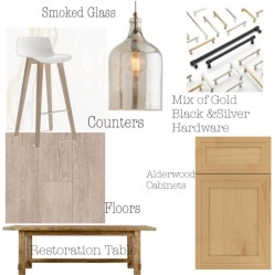 Pulling together concepts for a beachy modern kitchen. Alderwood cabinets and marble look counters were the jump off