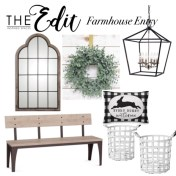 This bench inspired me to pull together a farm house entry look. I love a boxwood wreath!