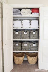 Organize closets and items you already have- and ADD labels and baskets where needed!