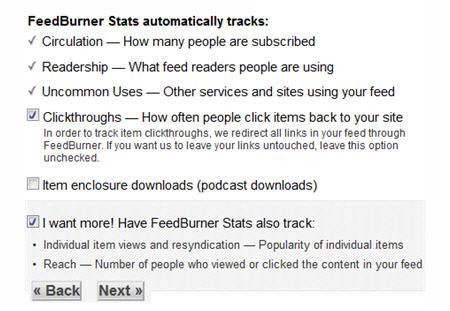 Selecting your Feedburner Stats options