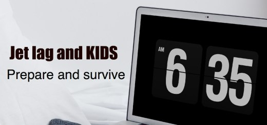 computer with clock that says 6:35, Jet lag with KIDS