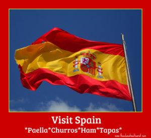 Spanish flag visit spain, paella, churros, ham, tapas