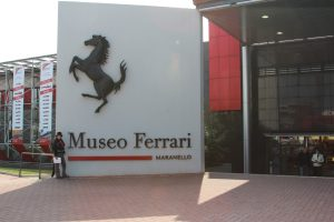 The Educational Tourist in front of Ferrari Museum in Modeno, Italy,m Ferrari Museum, www.theeducationaltourist.com