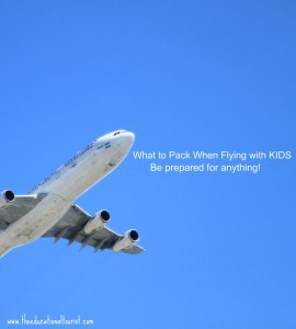 airplane in blue, cloudless sky that says What to pack with flying with the kids, be prepared for anything