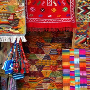 Colorful rugs in Morocco
