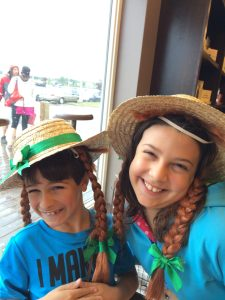 kids wearing Anne of Green Gable wigs, Canada Travel Itinerary, www.theeducationaltourist.com