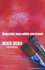 red painted background with 2 paintbrushes, Mixed Media Activities for Traveling Kids, www.theeducationaltourist.com