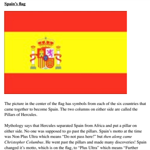 Page from travel guide book showing Spanish flag