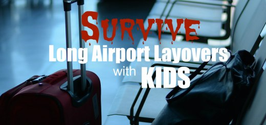 Suitcases at airport waiting area, Survive Long Airport Layovers with KIDS:
