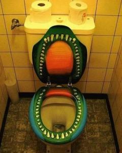 toilet monster art, modern art