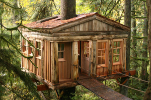 Temple of the Moon treehouse room, photo from treehouse point in Seattle, WA, unusual hotels with kids