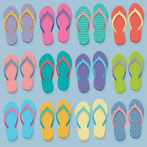 Big set of colorful pairs of flip flops, illustration in flat design style