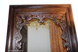 carved wooden door in Kasbah of Tangiers Morocco
