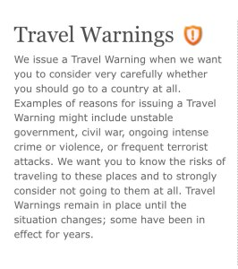US State Department Travel Warnings, Choose a Safe Travel Destination, www.theeducationaltourist.com