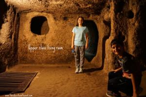Living room underground city Kaymakli Turkey UNESCO