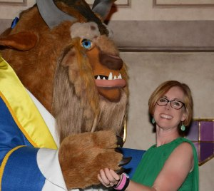 woman dancing with beast character as Disney, Disney Made Easy, www.theeducationaltourist.com