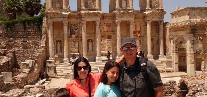 family in Library in Ephesus turkey