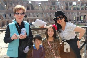 Family in Roman Colosseum, Family Vacations with Grandchildren, www.theeducationaltourist.com