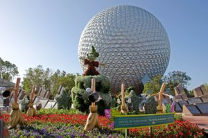 Epcot ball and topiary garden, 7 Ways to Stay Within a Budget - Disney, www.theeducationaltourist.com