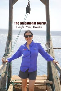 The Educational Tourist at South Point, Hawaii cliff