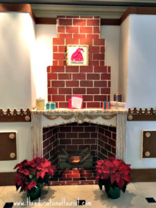 Marzipan and gingerbread fireplace mantle in Christmas gingerbread room at New Orleans' Ritz Carlton hotel, New Orleans Christmas decoration, www.theeducationaltourist.com