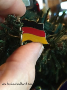 Spanish flag lapel pin hanging on Christmas tree like an ornament, souvenirs, www.theeducationaltourist.com