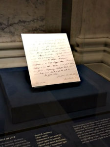 letter by Susa B. Anthony on display in the Morgan Library rotunda, Morgan Library, NYC - Visit with KIDS, www.theeducationaltourist.com